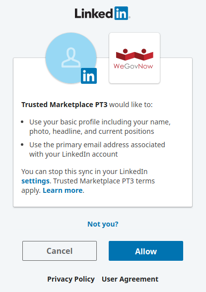 Ask for permission/authorisation from LinkedIn)