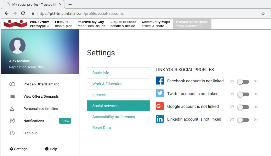Linking social accounts