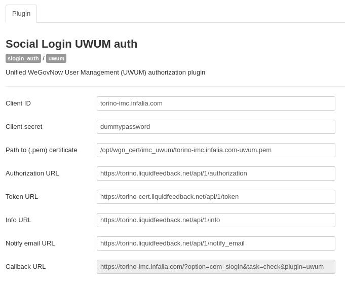 Example UWUM plugin setup